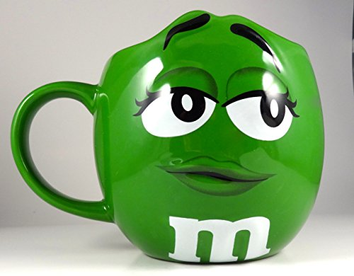 M&Ms Fun Sculpted Face Extra Large 24 oz Ceramic Coffee Tea Mug m&m m & m (Green)