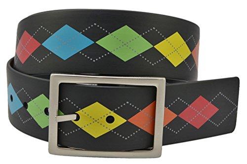 PGA Tour Reversible Silicone Golf Belt - Black/Argyle or Black (32)