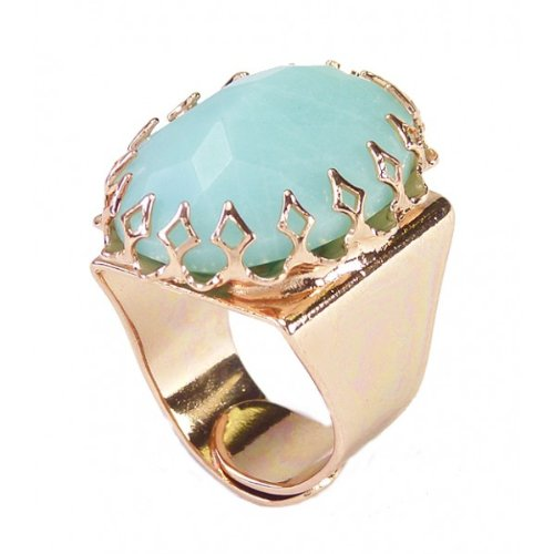 Israeli Amaro Jewelry Studio 'Fresh Sensation' Collection Statement Ring Featuring an Oval Cut Amazonite Stone; Adjustable; Rhodium Plated