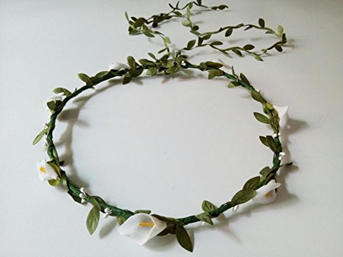 Fairy Bohemian EVA Foam Calla Lily Flowers Headband Floral Flower Girl Hair Band Accessories Wreath Bridal Green Leaf Tassel Headpiece for Weddings (White)