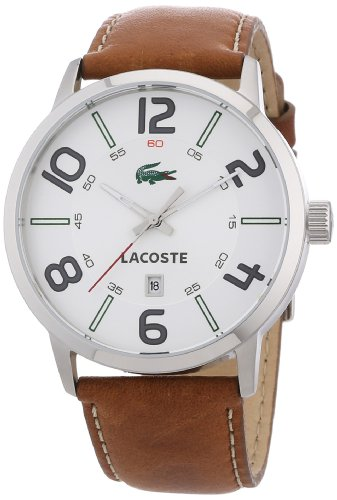 Lacoste Barcelona White Dial Brown Leather Mens Watch 2010498