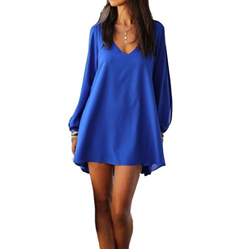 laixing New Fashion Summer Casual da donna vestito chiffon partito per abito corto. Blue Medium