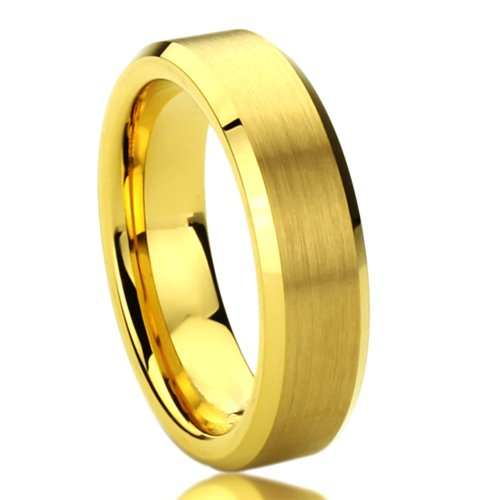 Unisex Men'S 6Mm Titanium Comfort Fit Wedding Band Ring Brushed Center Yellow Gold Plated Beveled Ring (5 To 10) - Size: 10