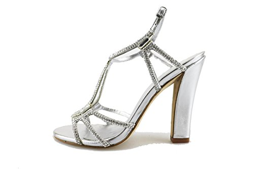 LOLA CRUZ sandali donna argento tessuto strass AG307 (40 EU)