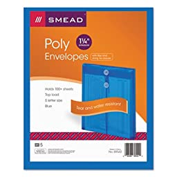 Smead Envelope with String-Tie Closure, Top Loading, Letter Size, Blue Poly, 5 per Pack (89542)