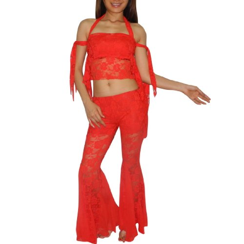 3 PIECE SET: Ladies Sexy Exotic Belly Dance Lace Sheer Cropped Top & Skirt Pant Costume Set - Size: one Größe
