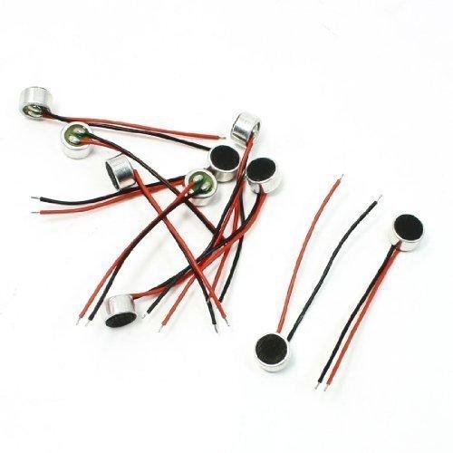 Sourcingmap Lot de 10 embouts à 6 mm/2 x 3,5 mm Fil Capsule Micro Microphone à condensateur électret
