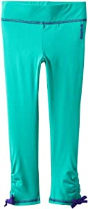 Reebok Girls 7-16 Capri Legging with Pull String Hem, Teal, Large