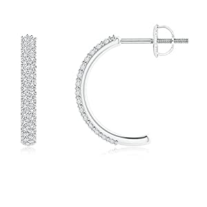 Mothers Day Round Small Diamond Hoop Earringswith Prong Setting in Platinum (Color: H, Clarity: SI2, Weight: 0.36ctwt)