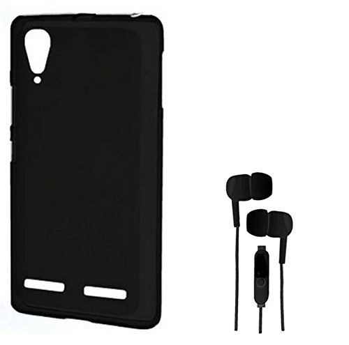 Chevron Premium Back Cover Case with 3.5mm Stereo Earphones for Lenovo A6000 Plus (Black)
