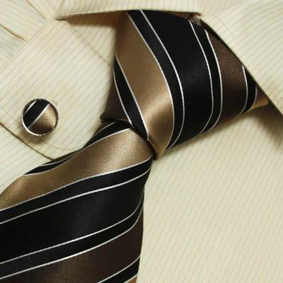 Black Striped Designer Mens Ties Brown Stripes Personalized Gift Mens Style Silk Necktie Cufflinks Set A1061
