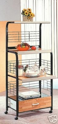 Black Microwave Cart With Power Strip