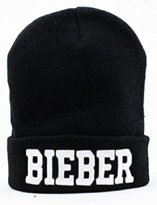 Justin Bieber Beanie (Black with White Logo)