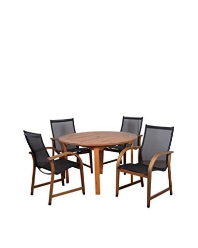 Amazonia Bahamas 5-Piece Eucalyptus Round Patio Dining Set, Brown