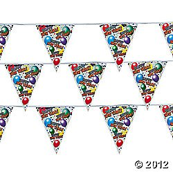 "Foil ""Happy New Year!"" Metallic Flag Banner/includes 20 pennants/New Years Party Supplies - 1"
