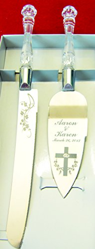 buy Double Rings & Cross Engraved Wedding Cake Knife / Server Set Names And Date Free !