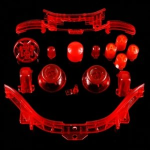 258Stickers® Xbox 360 Transparent Red Thumbsticks + D-Pad + Rt Lt + Rb Lb + Insert Abxy Guide + Start Back Sync + Top Middle Bar