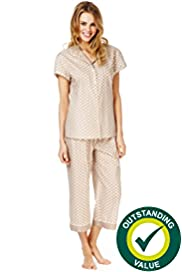 Pure Cotton Revere Collar Spotted Cropped Pyjamas