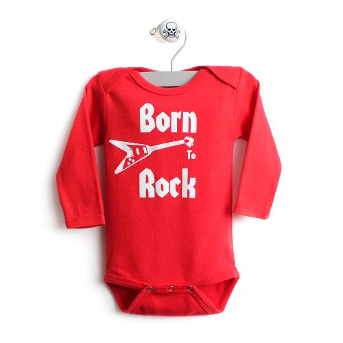 Born To Rock Baby One Piece Long Sleeve Baby Body Suit In Red