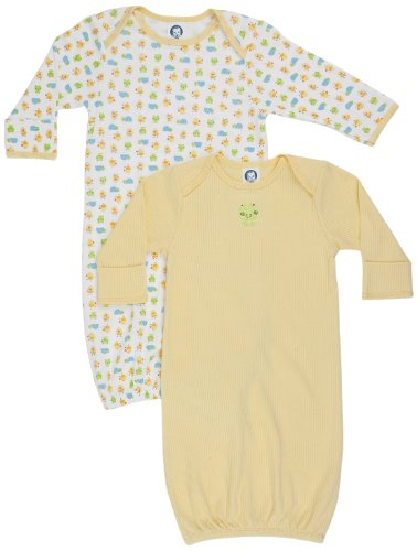 Gerber Unisex-Baby  Frogs And Ducks 2 Pack Lap Shoulder Gown, Yellow/White, 0-6 Months