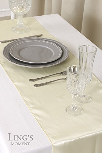 Ling 39 s moment 12 x 108 inch satin ivory table runner pack for 85 inch table runner
