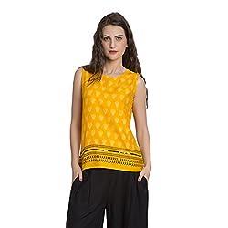 Desi Belle Casual Yellow Printed Rayon Top