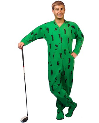 PajamaCity Golf Print Green Cotton Flannel One Piece Footie Pajamas for Teens and Adults Size 6 (5'8
