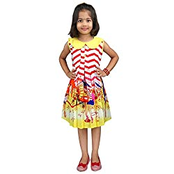 Hawai Red Striped Sleeveless Girl Frock