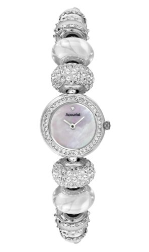 Charmed by Accurist Women's Quartz Watch with Mother of Pearl Dial Analogue Display and Silver Colour Bracelet LB1722W