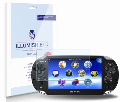 Illumishield - Sony Playstation Vita 3G Screen Protector With (Hd) Blue Light Uv Filter / Premium High Definition Clear Film / Reduces Eye Fatigue And Eye Strain - Anti- Fingerprint / Anti-Bubble / Anti-Bacterial Shield - Comes With Free Lifetime Replacem