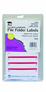 Charles Leonard Inc. File Folder Labels, 0.56 x 3.43 Inches, Red, 248/box (45230)