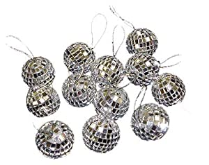 "Pack of 12 Petite Treasures Mirrored Glass Disco Ball Christmas Ornaments 1.25"" (30mm)"