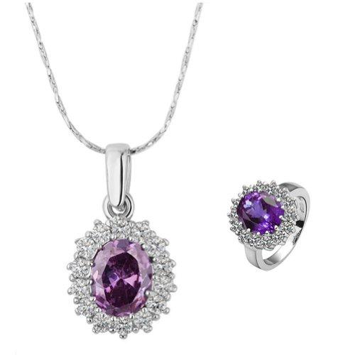 18k Gold Plated Swarovski Elements Crystal CZ Rhinestone jewelry Sets Purple Necklace & Ring