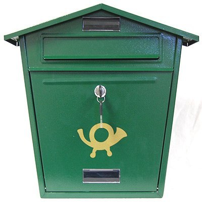 Green Steel Post Box - Traditional
