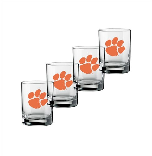 NCAA Clemson Tigers Set of 4 Double Old Fashioned Glasses, 14-Ounce