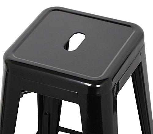 go2buy 6 PCs 26'' Metal Frame Bar Stools Vintage Counter Bar Stool Heavy Duty Black 5
