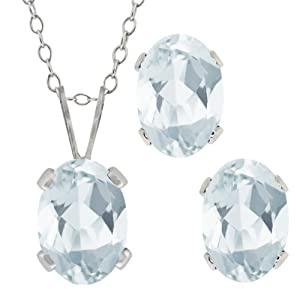 1.58 Ct Oval Sky Blue Aquamarine Gemstone Sterling Silver Pendant Earrings Set