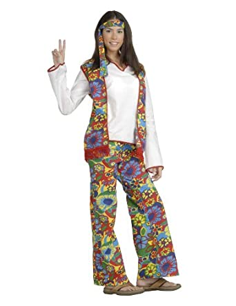 Forum Hippie Dippie Chick Woman's 60's Costume, Multi, One Size