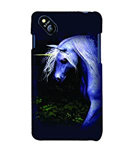 PrintVisa Animal Unicorn Cute 3D Hard Polycarbonate Designer Back Case Cover for Micromax Bolt D303