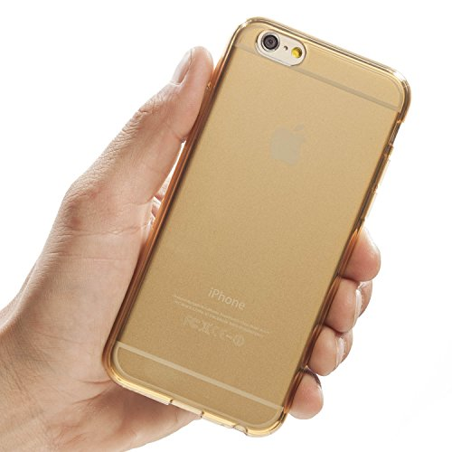 iPhone 6S case, Totallee Revealer, Flexible Soft Slim Jelly Transparent TPU Cover for iPhone 6 and 6S (Gold) (Iphone 6 Soft Jelly compare prices)
