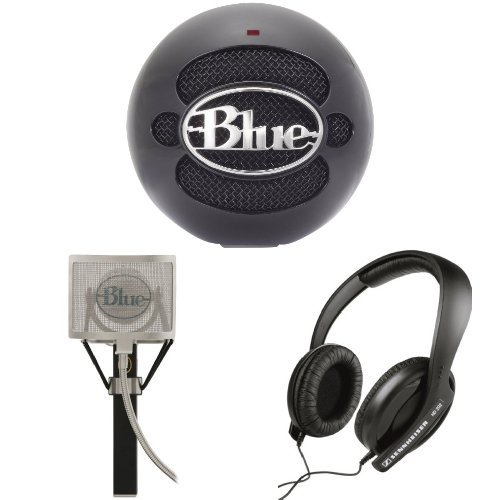 Blue Microphones Snowball Usb Microphone (Gloss Black) With Blue Mics Pop Filter And Sennheiser Hd 202 Ii Professional Headphones