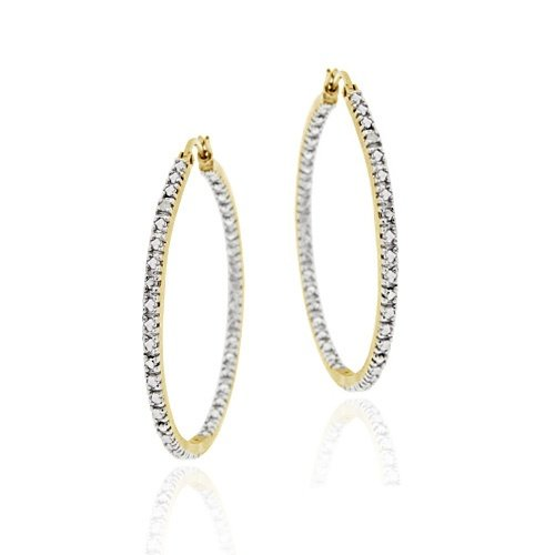 18K Gold over Sterling Silver Diamond Accent 35mm Inside Out Hoop Earrings