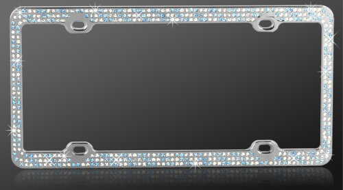 Chrome Metal Car License Plate Frame with 474 Baby Blue & Clear Crystals