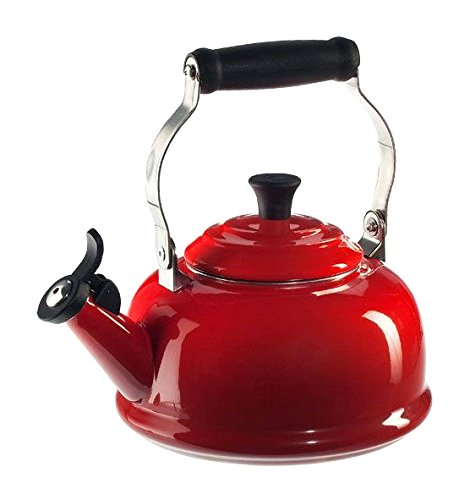 Le Creuset Enamel-on-Steel Whistling 1-4/5-Quart Teakettle, Cerise (Cherry Red)