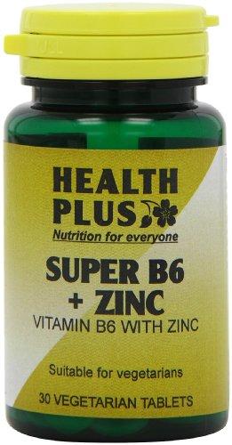 Health Plus Super B6 + Zinc Vitamin B Supplement - 2 X Packs Of 30 Tablets (60 Tablets)