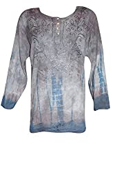 Indiatrendzs Women's Embroidered Rayon Grey Boho Top/Blouse Chest: 46