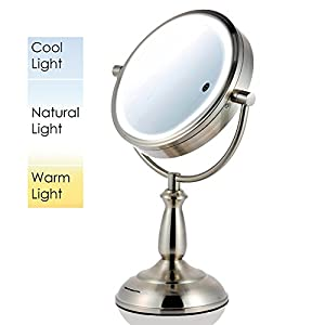 Ovente Multi Touch Tabletop Makeup Mirror with 3 Tone LED Light Option, 8.5