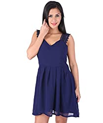 Ashtag Navy Blue Georgette Dress