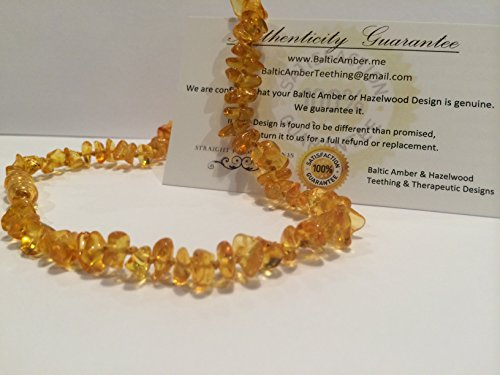 12.5 Inch Baltic Essentials Amber Teething Necklace for Babies (Unisex) - Anti Flammatory, Drooling & Teething Pain Reduce Properties - Certificated Natural Oval Baltic Jewelry with the Highest Quality Guaranteed. Easy to Fastens with a Twist-in Screw Clasp Mothers Approved Remedies!