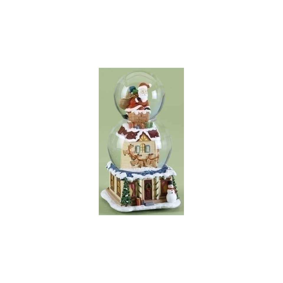 8 Musical Santa Claus Christmas Double Snow Globe Glitterdome